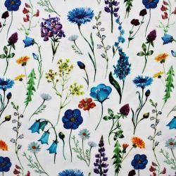 Teplákovina bílý květinový herbář II -digitální tisk