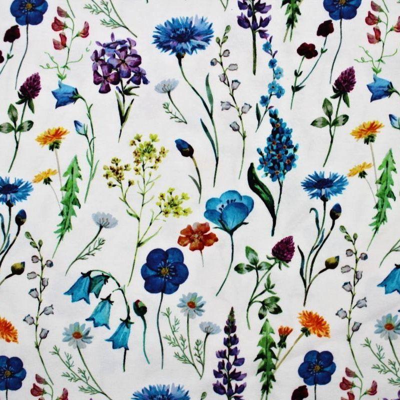Teplákovina bílý květinový herbář II -digitální tisk EU-úplety atest pro děti