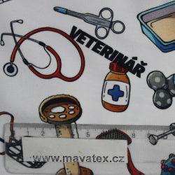 Jednolícní úplet veterinář -digitální tisk EU-úplety atest pro děti