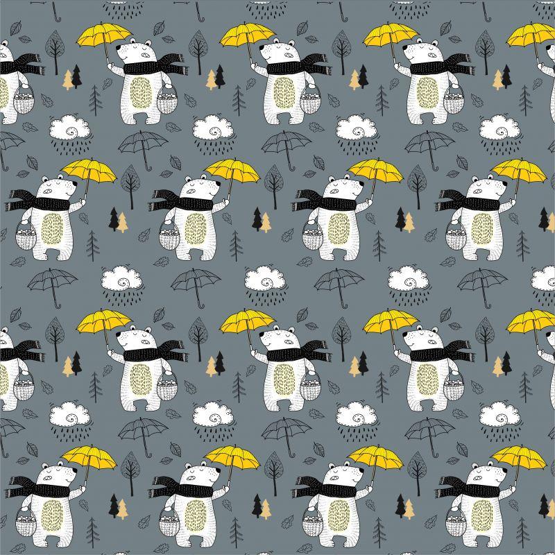 Medvídkové s deštníky-sublimační digitální tisk mavaga design