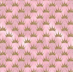 Zlaté korunky na růžové-sublimační digitální tisk