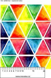 Barevné trojúhelníky-sublimační digitální tisk mavaga design