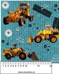 Žluté nakladače na tyrkysu-sublimační digitální tisk mavaga design