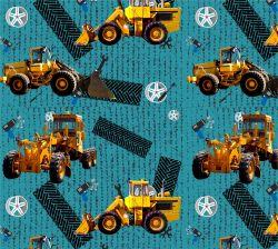 Žluté nakladače na tyrkysu-sublimační digitální tisk