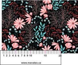Růžové květy a mentol lístky-sublimační digitální tisk mavaga design