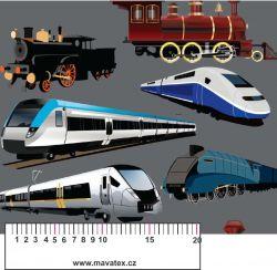 Vlaky na šedé-sublimační digitální tisk mavaga design