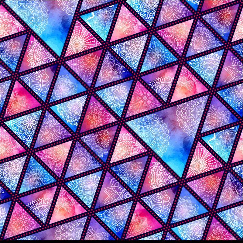 Fialovo-růžové mandaly-sublimační digitální tisk mavaga design