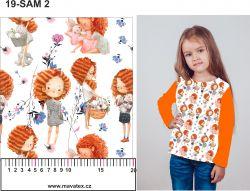 Lora na bílé s květy-sublimační digitální tisk mavaga design