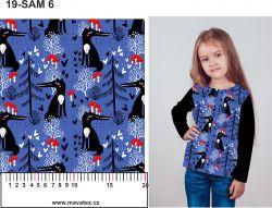 Lišky v lese na modré-sublimační digitální tisk mavaga design
