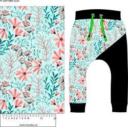 Růžové květy s mentol lístky -sublimační digitální tisk mavaga design