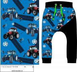 Traktory na modré -sublimační digitální tisk mavaga design