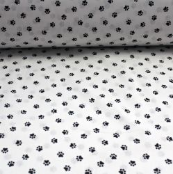 Bílá bavlna s tlapičkami vyrobeno v EU- atest pro děti bavlna