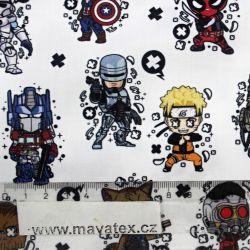 Bavlna komiksové postavy -digitální tisk vyrobeno v EU