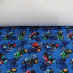Teplákovina modrá s barevnými traktory - digitální tisk EU-úplety atest pro děti