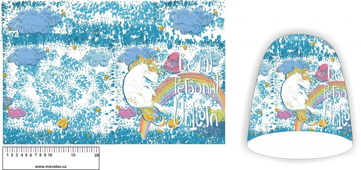 Panel na čepice SKEJŤAČKA - koníci s nebem bílým- teplákovina panel Tukan