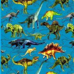 Softshell malovaní dinosaurové na modré- BERÁNEK