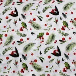 Bavlna vánoční větvičky na bílé