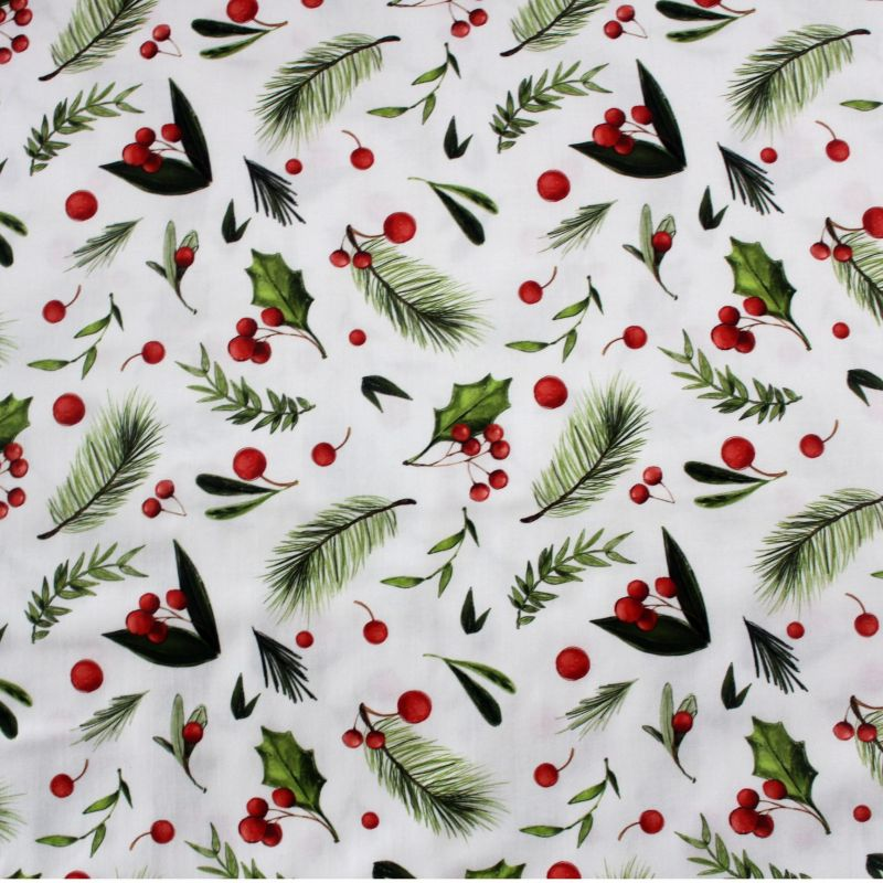 Bavlna vánoční větvičky na bílé vyrobeno v EU