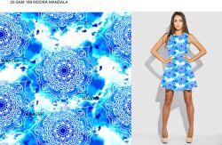 Bílá mandala na modré batice- digitální tisk mavaga design