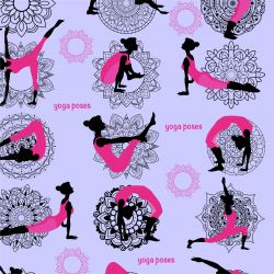 Yoga na fialové - digitální tisk | DOLOMITY, Funkční úplet TORINO 140 gsm, GARZATO 200gsm- funkční úplet počesaný, LYCRA 200
