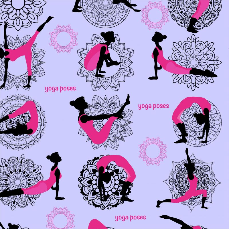 Yoga na fialové - digitální tisk mavaga design