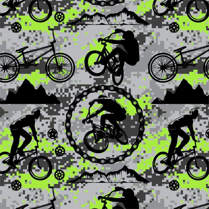 Cyklistika zelená na kamufláži -digitální tisk mavaga design