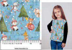 Sněhulák a zvířátka v lese-modrá- digitální tisk mavaga design