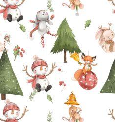 Sněhulák a zvířátka v lese-bílá- digitální tisk