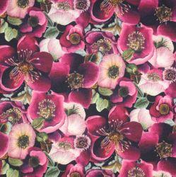 TEPLÁKOVINA rozkvetlé bordo květy  - digitální tisk