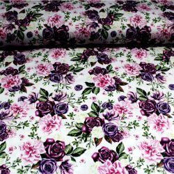 Bílá bavlna - Fialové květy vyrobeno v EU