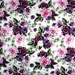 Bílá bavlna - Fialové květy