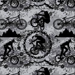 Cyklistika černobílá kamufláži -digitální tisk