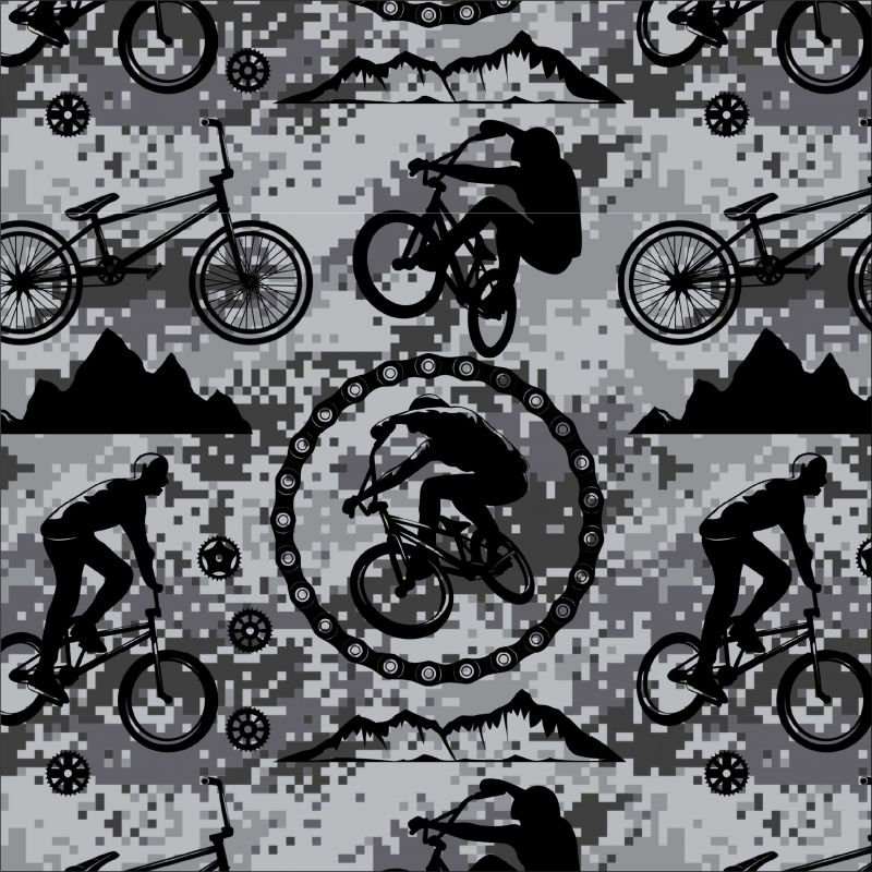 Cyklistika černobílá kamufláži -digitální tisk mavaga design