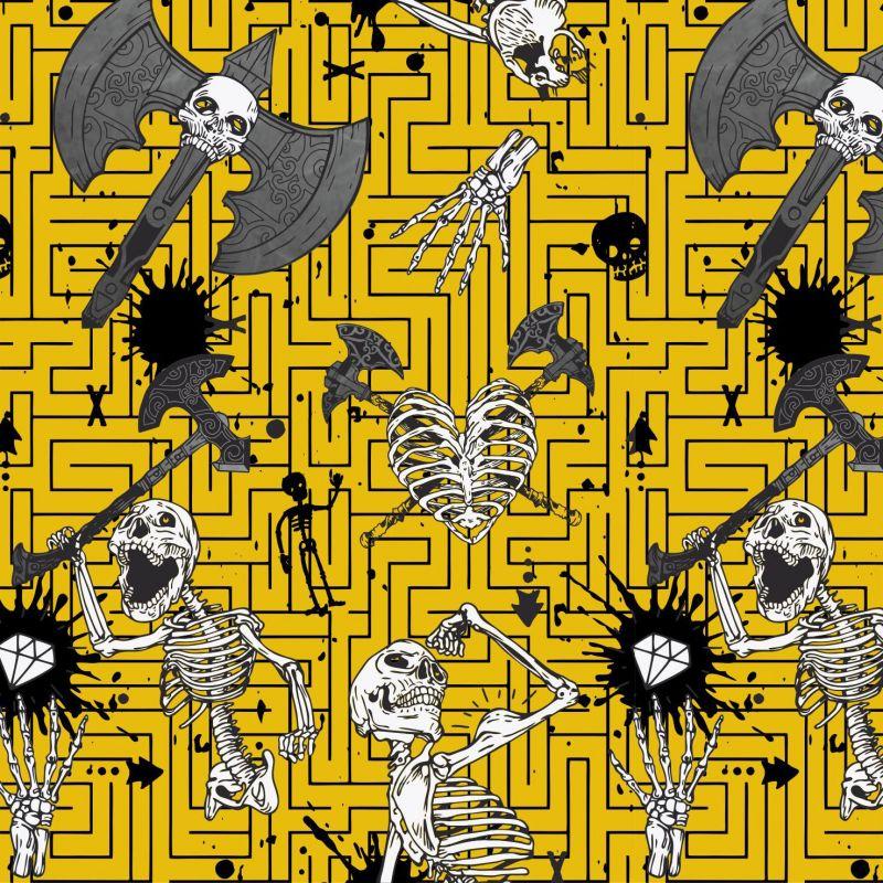 Kostry Tmavě žlutá- digitální tisk mavaga design