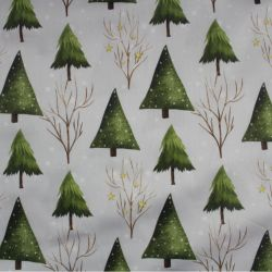 Bavlna světle šedá zimní stromy
