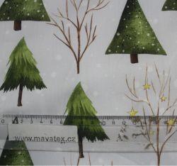 Bavlna světle šedá zimní stromy vyrobeno v EU
