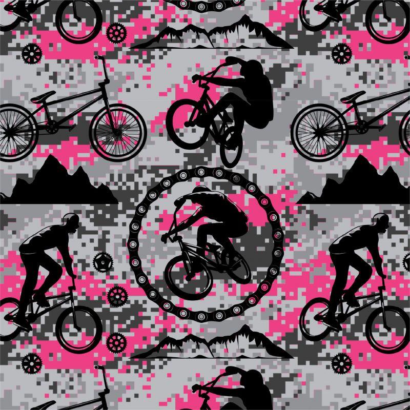 Cyklistika růžová na kamufláži -digitální tisk mavaga design