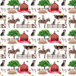 Farma zvířátka , plot a dům- -digitální tisk