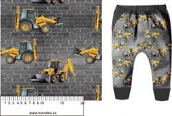 Žluté nakladače na zdi -digitální tisk mavaga design