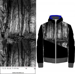 Černo-bílý les- digitální tisk mavaga design