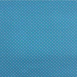 Jednolícní úplet jasně modrý s MINI puntíky