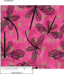 Vážky na růžové se zlatými puntíky -digitální tisk