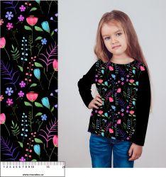 Malované dětské květy na černé -digitální tisk mavaga design