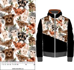 Lesní zvířátka hlavy- bílá - digitální tisk mavaga design