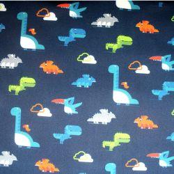 Softshell barevní dinosaurové na tmavě modré- zimní