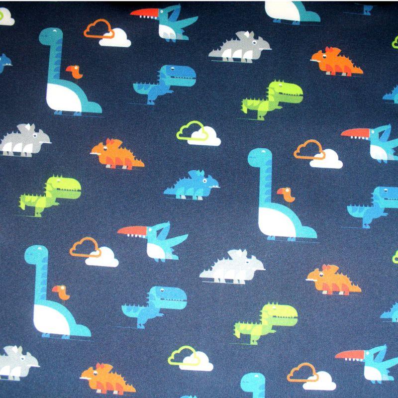 Softshell barevní dinosaurové na tmavě modré- zimní EU-úplety atest pro děti