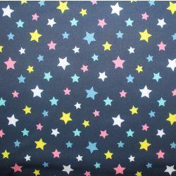 Softshell barevné hvězdičky na tmavě modré- zimní