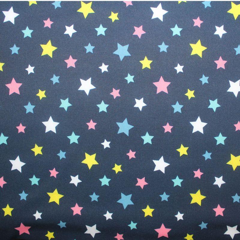 Softshell barevné hvězdičky na tmavě modré- zimní EU-úplety atest pro děti