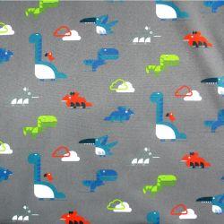 Softshell barevní dinosaurové na šedé - zimní