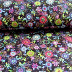 Teplákovina květy různobarevné- digitální tisk vyrobeno v Turecku
